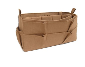 Purse Insert - Bag organizer insert iwith Laptop compartment in Sand fabric