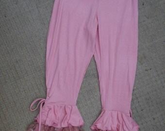 "20%OFF lagenlook pink 3/4 pants with ruffles medium to firmer 42"" hips or waist...."