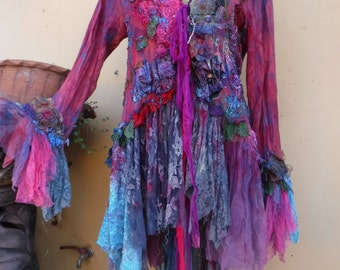 20%OFF gothic lagenlook bohemian jacket gypsy knit jacket...work of art!! medium to 44'' bust....