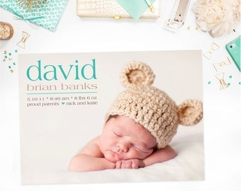 Modern Birth Announcement, Minimalist Baby Announcement: PRINTABLE or Prints - Simply Put