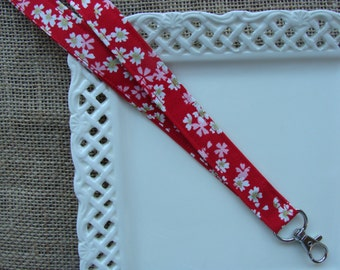 Fabric Lanyard ID - Cherry Blossoms on Red