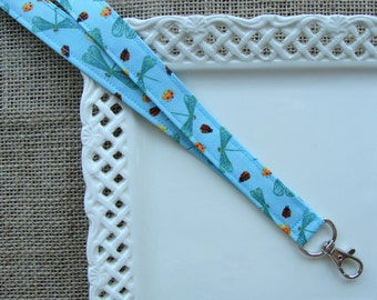 Fabric Lanyard ID -  Dragonflies, Ladybugs and Snails