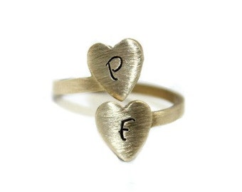 Hand Stamped Jewelry Brass Heart Wrap Ring