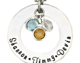 Hand Stamped Washer Birthstone Hand Stamped Necklace - Mothers Necklace- Mothers Jewelry