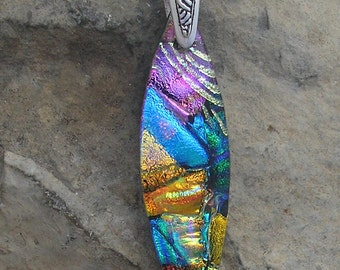 Rainbow Necklace Dichroic Glass Pendant Rainbow Dichroic Jewelry