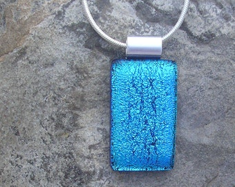 Blue Pendant Fused Glass Dichroic Blue Necklace