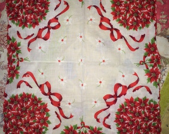 Vintage Christmas Handkerchief. Christmas Hankie. Christmas Handkerchief. Handkerchief