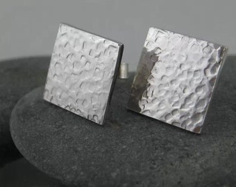 Sterling Silver Hammered/Textured Square Ear Studs - Handmade By CMcB Jewellery