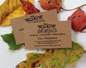 100 Personalized Printed KRAFT BUSINESS CARDS