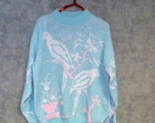 Vintage Sweater  Blue with Birds on Branches