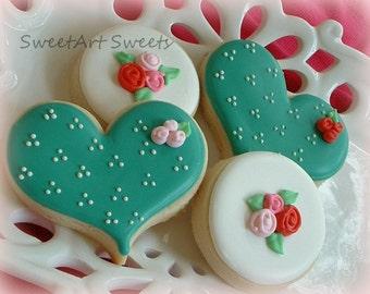 Valentines Day cookies - heart and circle cookies - anniversary cookies - Valentine's Day - 1/2 dozen or 1 dozen option