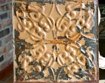 """Antique Ceiling Tile - 12"""" x 12"""" -- Beautiful Rusty Caramel Colored Paint - Squiggle Design"""