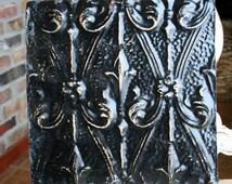 """Genuine Antique Ceiling Tile -- 12"""" x 12"""" -- Distressed Black Paint -- Unique Fleur de Lis Design"""