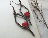 Red Jade Earrings, Long Elvish Style Copper Earrings, Red Earrings, Rustic Boho Red Jade Earrings