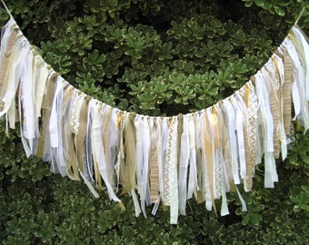 Wedding Garland, Fabric Garland, Bridal Shower Decorations, White Bridal Shower Banner, Wedding Decor, Rustic Wedding Ceremony Backdrop