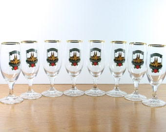 Vintage Kropf Edel Pils Glasses with Gold Rim. Kropf