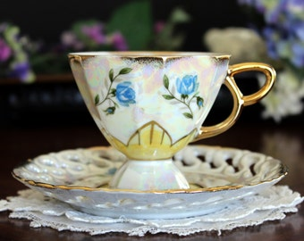 Pearlized Tea Cup, Vintage Teacup and Saucer, Iridescent, Pedestal Footed, Reticulated  13481