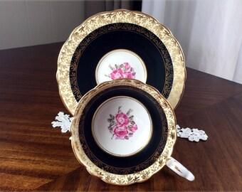 Royal Stafford Teacup and Saucer, Stunning Black Tea Cup With Gilt Filigree ...