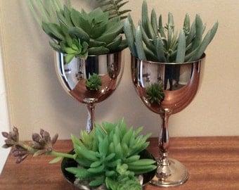 Vintage silver goblet with faux succulent