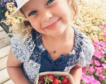 Strawberry Necklace, Hello Adorable, Sterling Silver, Silver Strawberry Necklace, Little Girl's Necklace