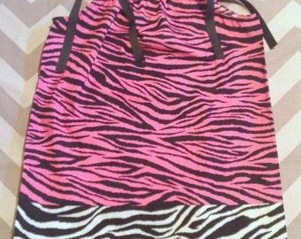 2 Toddler Ready to ship - Pillowcase Dress - Hot pink Zebra