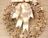 Gold Glittered Pinecone Wreath, Champagne Glitter Wreath, Pearl Trim, Gold Embossed Ribbon, Large Holiday Wreath