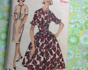 Vintage Advance 2969 Ruffle Shirt Dress Sewing Pattern 34 Inch Bust