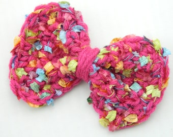 Crochet Bows Hair Bows Pink Bows Gir's Summer Bows Girl's Spring Bows Hair accessories Colorful Hair Bows