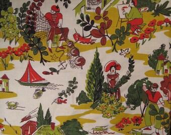 Mid Century Barkcloth Vintage Fabric Yardage: French Farm & Seaside Motif