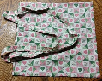 Lined Fabric Bag With Heart Design
