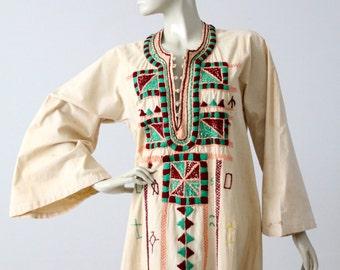 vintage embroidered tunic dress, long kurt, hippie caftan