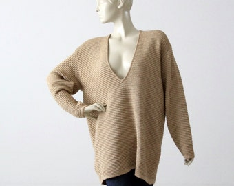 vintage metallic gold ribbed sweater, Classiques low v-neck sweater