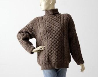 vintage Irish wool sweater, brown chunky knit turtleneck jumper