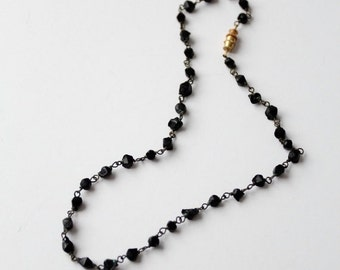 SALE vintage black faceted glass bead necklace