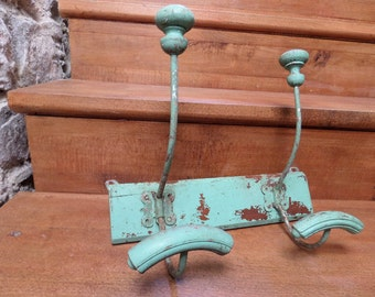 French  Vintage School Coat Rack 2 Pegs 1930s/ Shabby chic/Cottage chic/Home decor