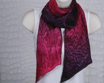 Hand Dyed Raspberry Red/Deep Purple Silk Scarf