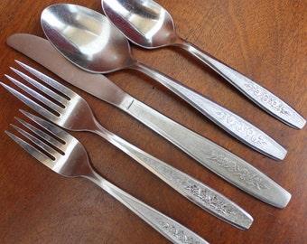 SPRING BALLAD Pattern Marked Simeon Rogers ONEIDA Stainless Flatware vintage silverware BiN 34