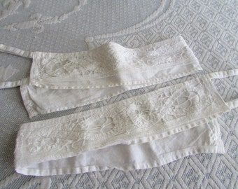 Vintage Curtain Tie Backs - white shabby victorian style, looped tiebacks, fancy French style lace, open lace