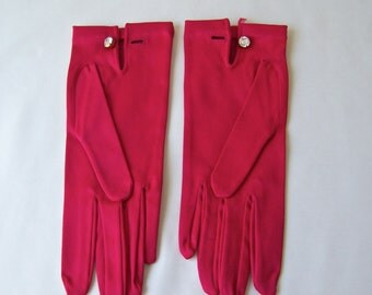 Vintage Red Gloves Kay Fuchs Stretch Satin Rayon Nylon Rhinestone Button Made In Western Germany Size Small 1960s
