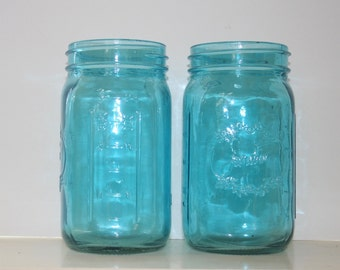 Blue Stained glass quart mason jar, mason jar vase, blue mason jar