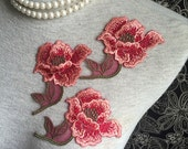 Vintage Applique - 4 PCS Red and Pink Flower Applique Lace (A357)