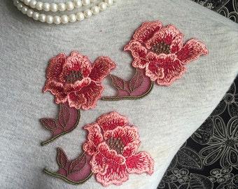 Vintage Applique - 4 PCS Red and Pink Flower Applique Lace (A357)