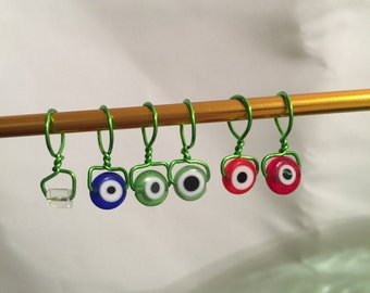 Eye On My Stitches, Wire Wrapped, Beaded, Snagless Stitch Markers