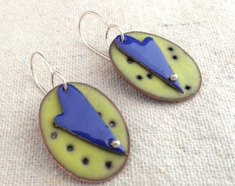 Enamel Heart Earrings in Cobalt and Lime