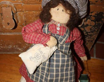 Vintage Hand Made Rustic Cloth Doll from 1980's