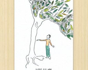 "Friendship greeting card, Sympathy card, tree card, ""lean on Me"" eco greeting card"