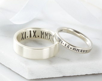 roman numeral date ring set for couples