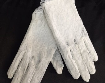 7 inch Short lace white gloves for child