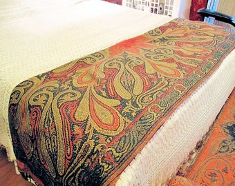 """Paisley Shawl-Antique  Double Sided Woolen Throw, Piano Shawl, Wall Hanging-42""""x90""""inches"""