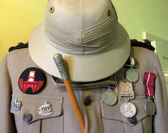 Military Uniform for Army Officer with Bowler Polo Hat and Swagger Stick from Pakistan, Vintage